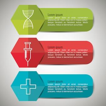 Infográficos médicos com três opções