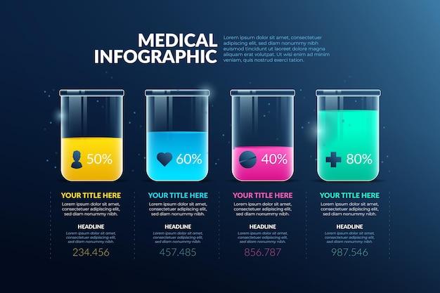 Infográficos médicos de estilo gradiente