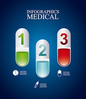 Infográficos médicos sobre ilustração vetorial de fundo azul