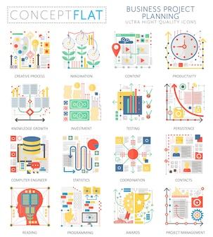 Infográficos mini conceito negócios finanças planejamento ícones