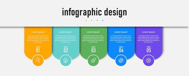 Infográficos modelos de negócios gráficos números de linha do tempo diagrama colorido de dados de processo simples