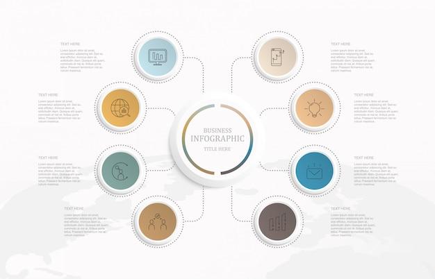 Infográficos oito círculos de elementos e ícones.