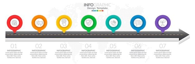 Infográficos para o conceito de negócio com ícones e opções