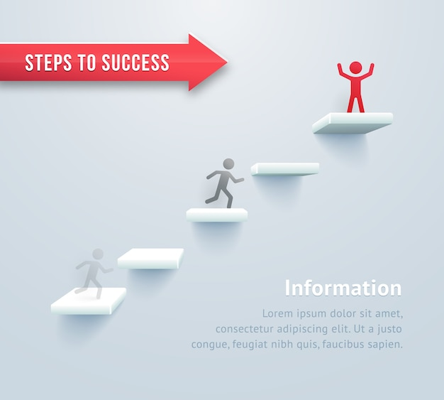 Infográficos passo a passo. passos para o sucesso