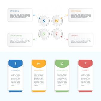 Infográficos swot dados visualização processo gráfico