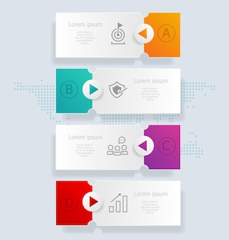 Infográficos verticais abstratos 4 etapas