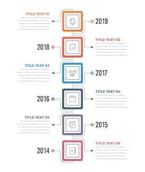 Infográficos verticais da linha do tempo