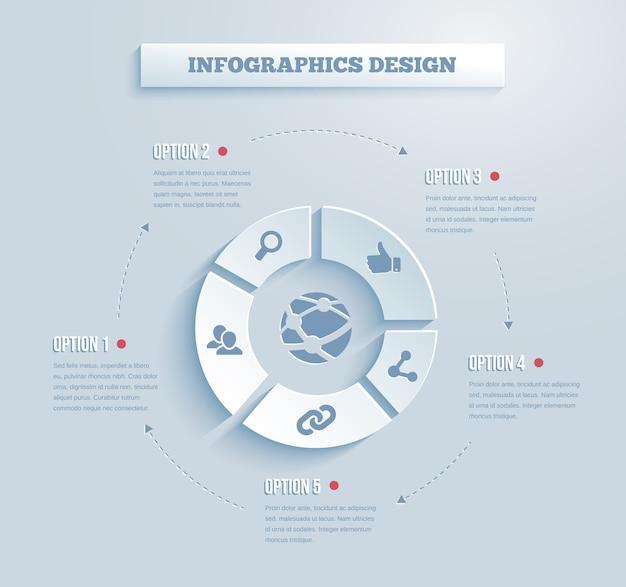 Infográficos vetoriais de papel com mídia social e ícones de rede mostrando links