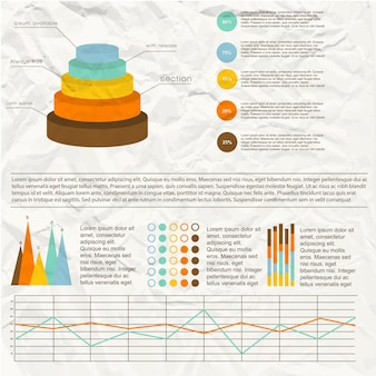 Infográficos vintage com diagramas coloridos e modelos de gráfico em papel amassado