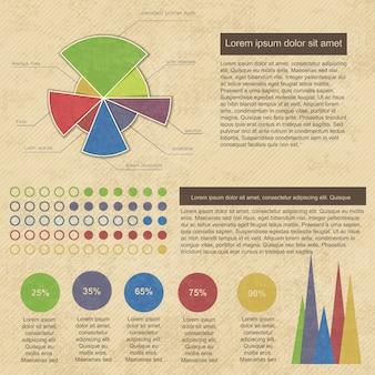 Infográficos vintage com diagramas e gráficos de negócios