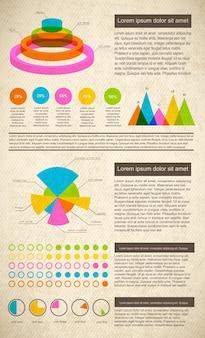 Infográficos vintage definidos em cores brilhantes com campos de texto de diagramas e estatísticas