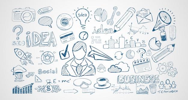 Infograph conjunto de esboços de mão desenhada e um monte de infográfico