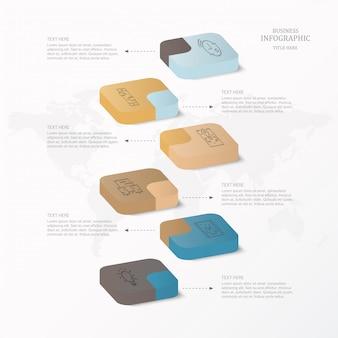 Infographics 3d e ícones para o conceito atual do negócio.