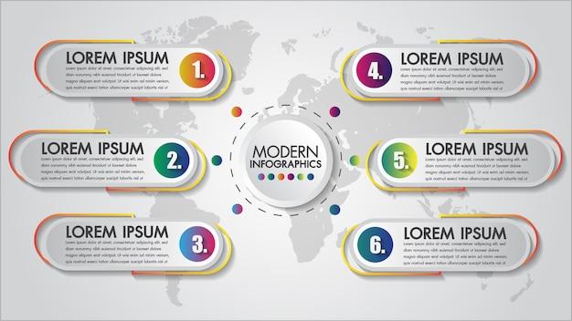 Infographics chart 6 steps concept creative