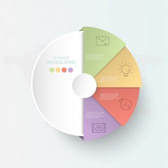 Infographics colorido do processo do círculo 4 para o conceito do negócio.