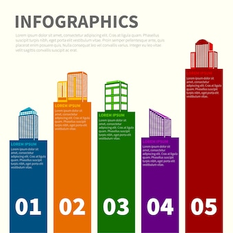 Infographics com edifícios coloridos