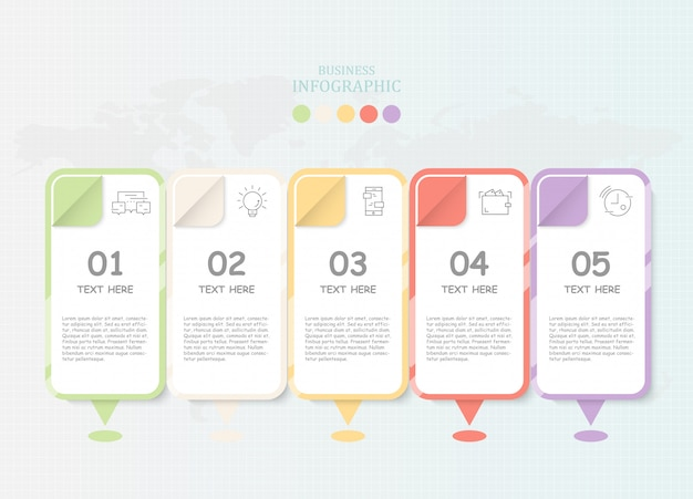 Infographics e ícones modernos do papel para o conceito atual do negócio.