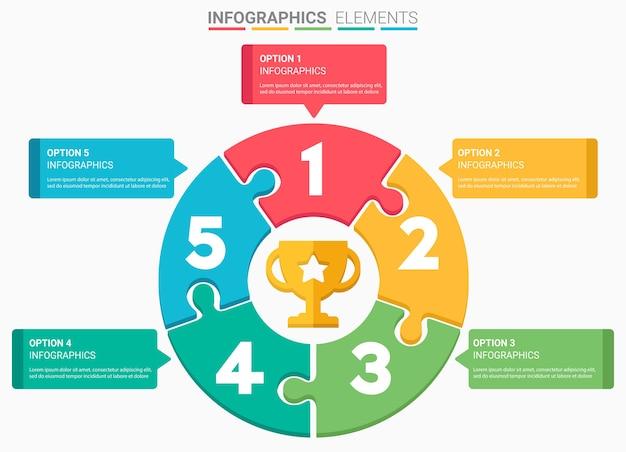 Infographics projetam o modelo de lista de cinco principais números