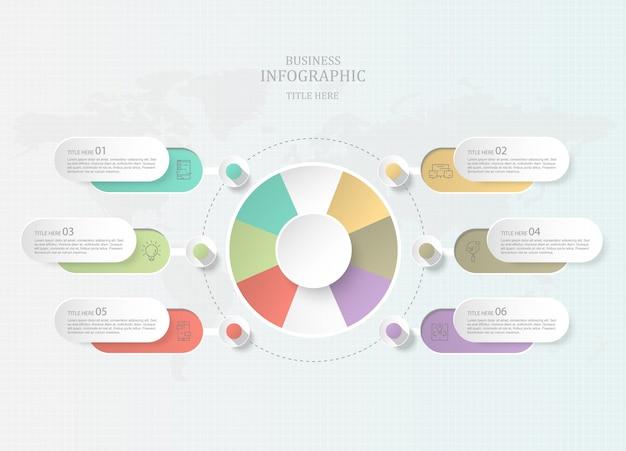 Infographics sete círculos e ícones do elemento para o conceito atual do negócio.
