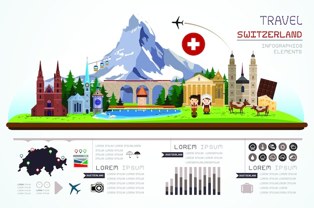 Infographics travel and landmark modelo de design da suíça
