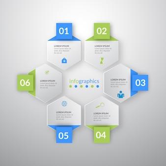 Infogrphics de ilustração vetorial com seis ícones