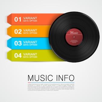 Informação abstrata da música. disco de vinil. ilustração vetorial