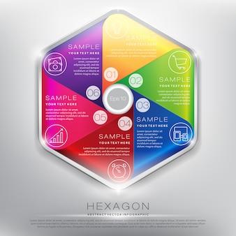 Informação abstrata hexágono gráfico. conceito de 6 partes. isolado no painel branco .