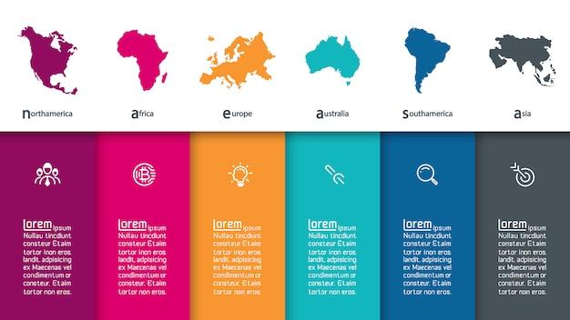 Informação continental do infographics na arte gráfica de vetor.