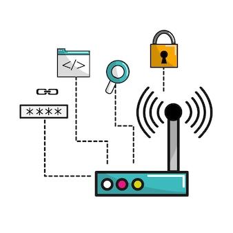 Informação de dados da conexão do roteador do wifi