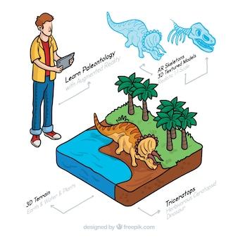 Informação de dinossauros com vista isométrica