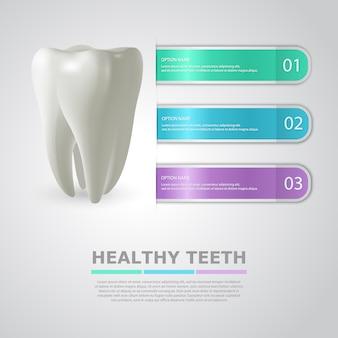 Informação de odontologia com dente realista