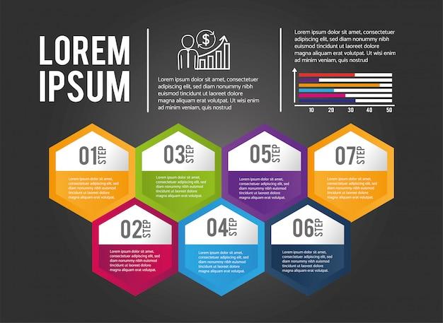 Informação de processo de infográfico de negócios