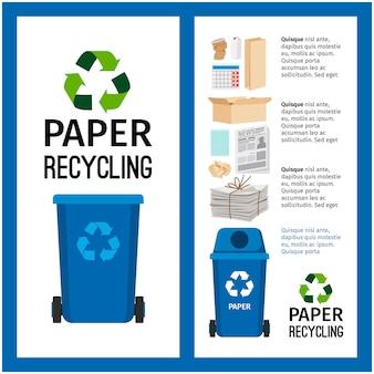 Informação de recipiente azul de lixo com papel
