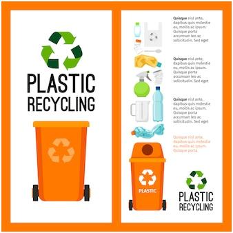 Informação de recipiente de lixo laranja com plástico