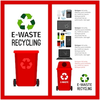 Informação de recipiente vermelho de lixo com e-desperdício