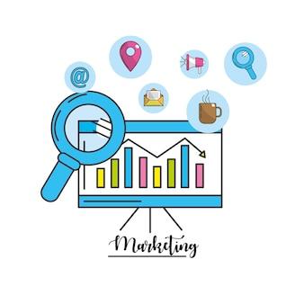 Informação estatística com ícone de ferramentas de tecnologia