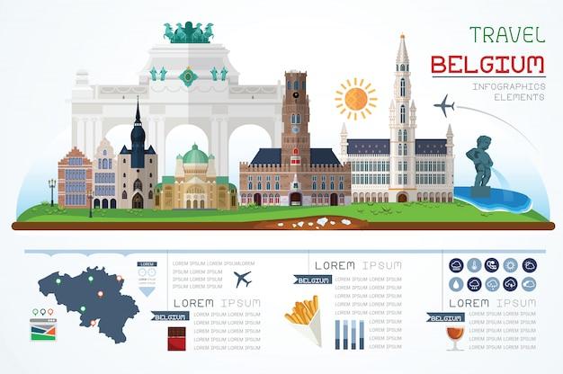 Informação gráfica de viagens e marco modelo de design de bélgica. ilustração do conceito. Vetor Premium