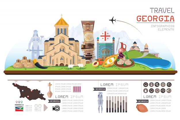 Informação gráfica viagens e marco geórgia modelo de design. ilustração do conceito.