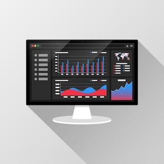 Informações analíticas da web na tela do computador com relatório de gráficos de tendências