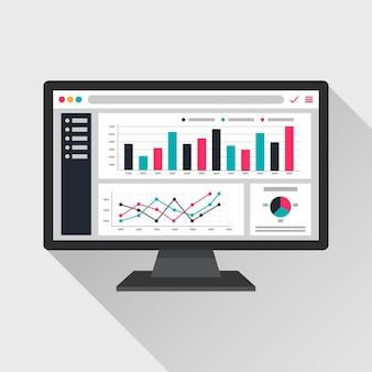 Informações analíticas da web na tela do computador. gráficos de tendência relatam o conceito.