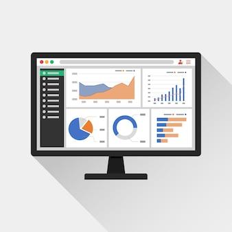 Informações analíticas da web no ícone da tela do computador. gráficos de tendência relatam o conceito.