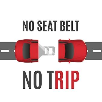 Informações básicas conceituais de segurança com carro, estrada e cinto de segurança. conceito de cinto de segurança.