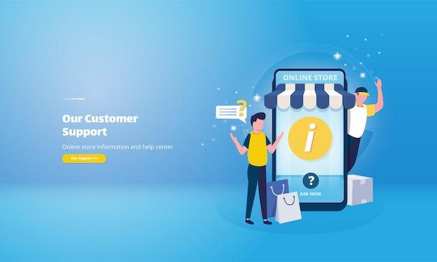 Informações da loja online e ilustração do serviço de ajuda
