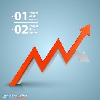 Informações de arte de crescimento de negócios de setas. ilustração vetorial