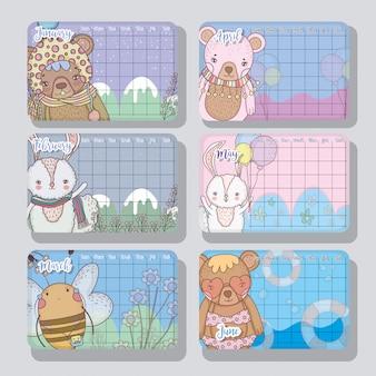 Informações de calendário com estilo de animais fofos