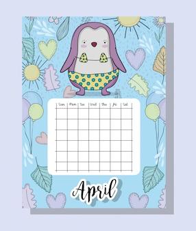 Informações de calendário de abril com pinguim e flores