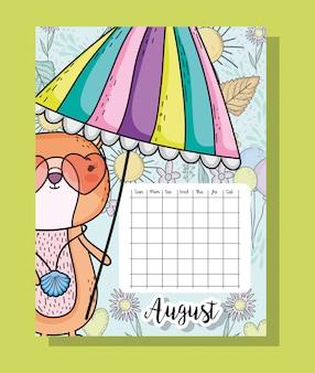 Informações de calendário de agosto com esquilo e flores