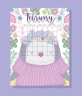 Informações de calendário de fevereiro com pinguim e plantas