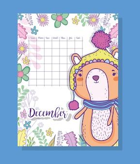 Informações de calendário de janeiro com esquilo e plantas