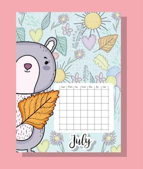 Informações de calendário de julho com esquilo e flores